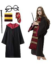 Disfraz de mago Amycute para cosplay, para adultos, incluye capa, corbata, montura para gafas, varita mágica, para fiestas de carnaval, disfraces, Halloween, 1 m