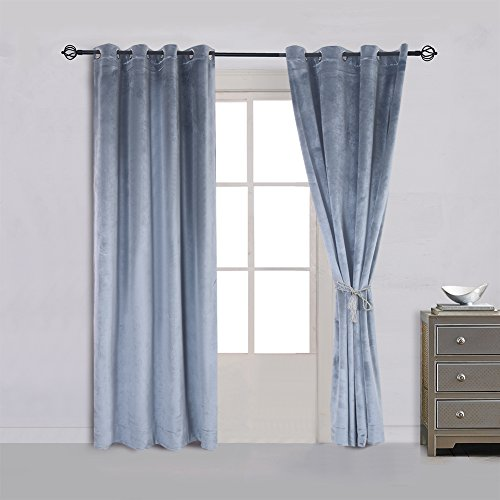 Cherry Home 52-Inch-by-63-Inch Velvet Blackout Grommet Curtain Panel, Stone-blue