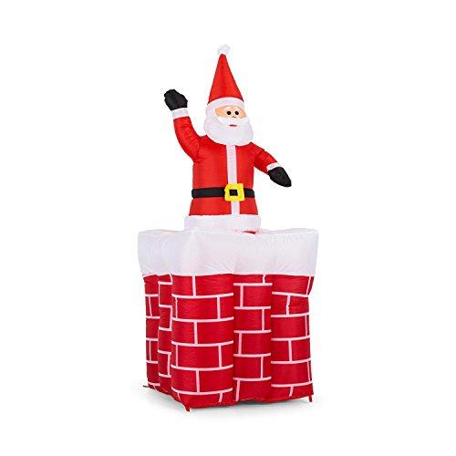 oneConcept Merry Surprise decorazione natalizia Babbo Natale gonfiabile (larghezza 180cm, illuminazione con LED integrati, ventilatore per gonfiaggio, picchetti e lacci per fissaggio)