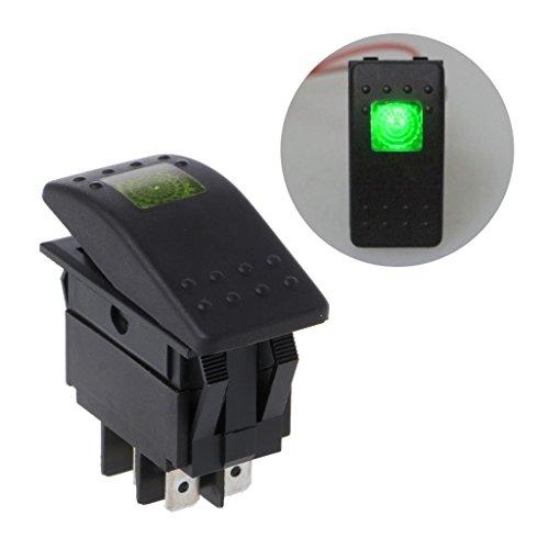 FXCO Interrupteur à bascule étanche 4 broches 12 V 20 A LED pour voiture (lumière LED : verte)