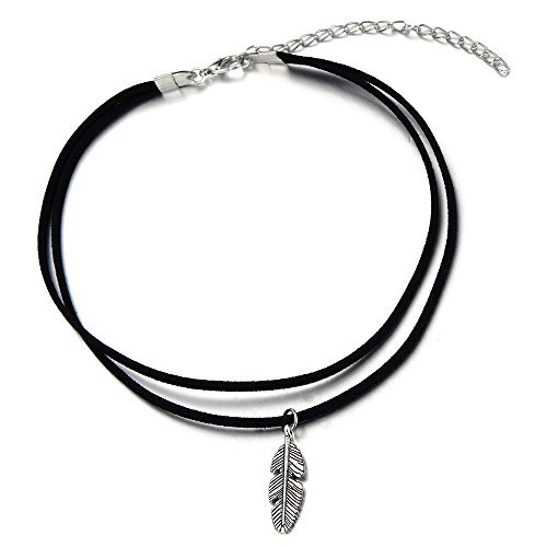 COOLSTEELANDBEYOND Pluma Collar de Gargantilla Choker Negro Collar de Mujer, Charm Colgante Mujer Niñas