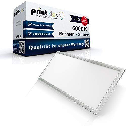 LED Panel Ultraslim 30x120cm Deckenleuchte Lampe Flächenleuchte 6000K-Kaltweiß 40W 3600 Lumen Silber Gehäuse 120x30cm - Office Plus Serie