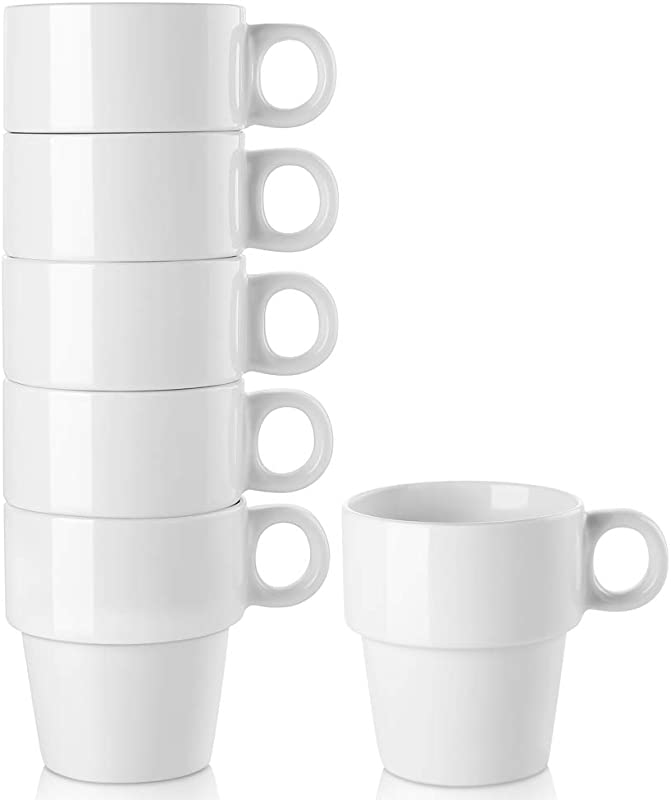 LIFVER 16 Ounce Stackable Coffee Mug Larger Porcelain Cup Set For Coffee Tea Milk Housewarming Holiday Gifts Set Of 6 White
