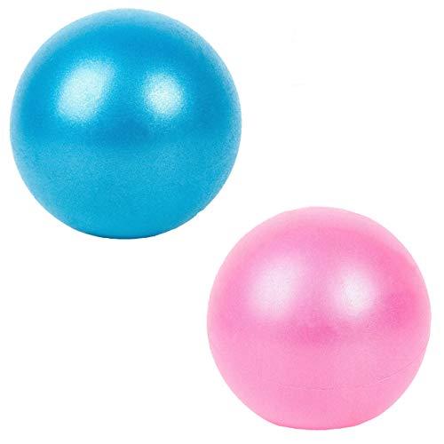 Slosy Pelota para Pilates Accesorios Gym Bola De Yoga Pack 2 Material De Gimnasio Balón Pequeño para Embarazadas De 25cm Entrenamiento Mini Ball Rosa Azul Mejora la Postura Rehabilitación
