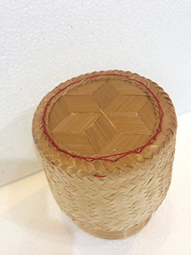 "Thai Handmade Sticky Rice Serving Basket Medium Size 6.6x3.5x5"""