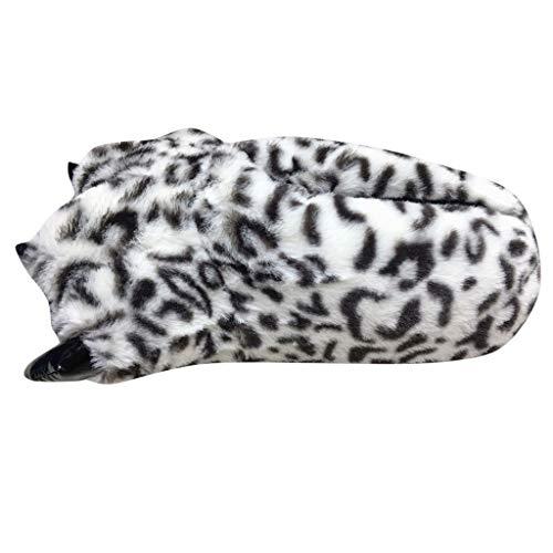 LQQSTORE Damen Hausschuhe Herren Winter Plüsch Kreativ Tiger Krallen Leopard All-Inclusive Pantoffel Baumwolle Schuhe (Grau, Free Size)