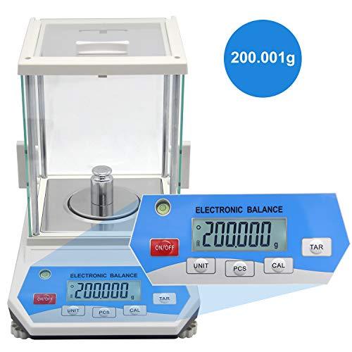 Bonvoisina 0.001g Balanza Analítica Electrónica de Alta Precisión 1mg Precisión Balanza Analítica Digital Escala de Laboratorio con Pantalla LCD Escala Científica de Alta Precisión (200g, 0.001g)
