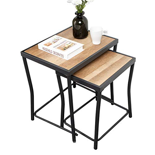 sogesfurniture Nest of 2 Tables, Retro Nesting Coffee Table Sofa Side End Table with Black Metal Frame for Kitchen, Living Room, Large Table 50x40x55 cm; Small Table 40x33x48cm, BHEU-GCBZ1002