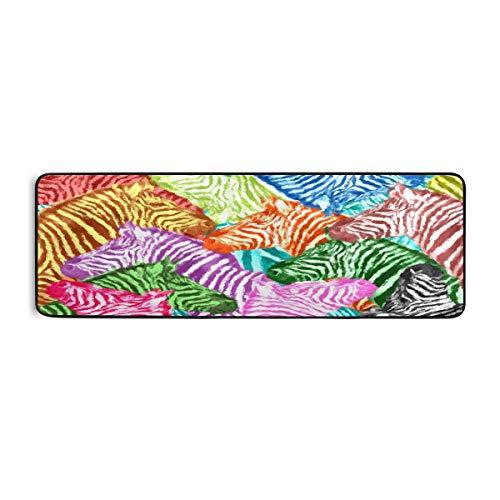 ALARGE - Alfombrilla de cocina con pintura de cebra abstracta colorida antideslizante, alfombra para sala de estar, pasillo, dormitorio, baño, entrada, interior y exterior, lavable, 2 x 6 pies