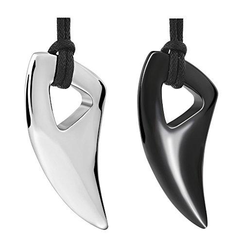 Epoch World Edelstahl Lange Halskette Wolf Zahn Kreuz Ketten Anhänger Herren Silber Schwarz für Männer mit Rinstellbar Lederkette (Schwarz)