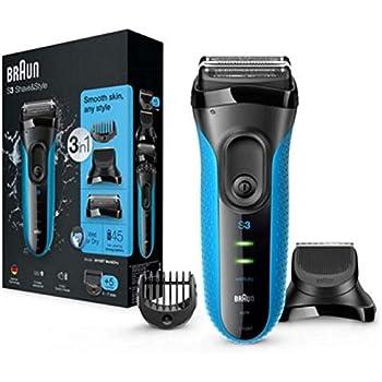 Braun Series 3 3-in-1-Elektrorasierer, Barttrimmer mit 5 Kammaufsätzen, Wet&Dry, 30 Minuten Akkulaufzeit, wiederaufladbarer und kabelloser elektrischer Rasierer, schwarz/blau