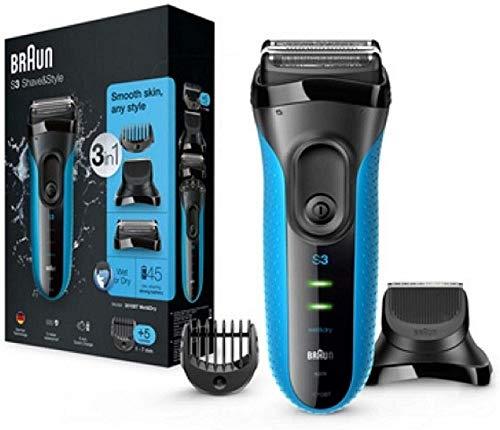 Braun Series 3 Rasierer Herren, 3-in-1-Elektrorasierer, Barttrimmer mit 5 Kammaufsätzen, Wet&Dry, 30 Minuten Akkulaufzeit, wiederaufladbarer und kabelloser elektrischer Rasierer, schwarz/blau