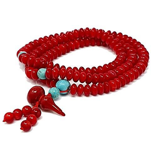 TreasureBay - Bracciale con 108 perline Mala, 6 mm, colore: Corallo rosso e turchese