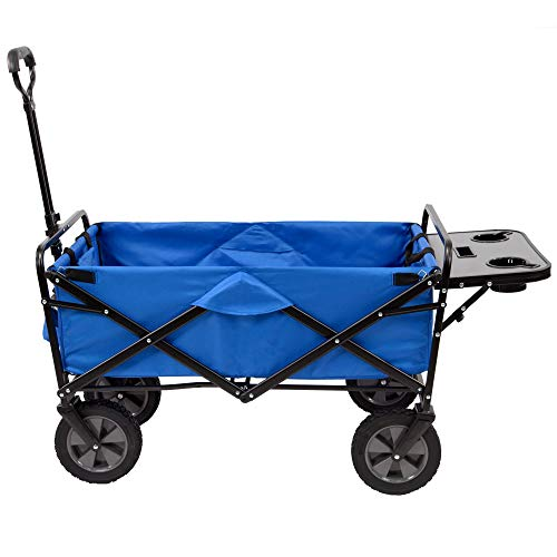 Mac Sports Collapsible Folding Outdoor Utility Wagon (Wagon with Side Table, Blue)