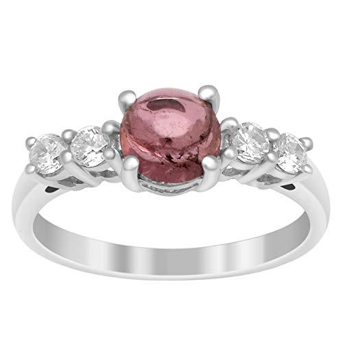 Acentos del solitario Anillo de racimo de plata esterlina 925 con piedras preciosas de turmalina rosa