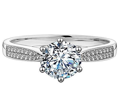 GEM DE LUXE Moissanite Engagement Ring Platinum Plated Silver 2ct 3mm Band...