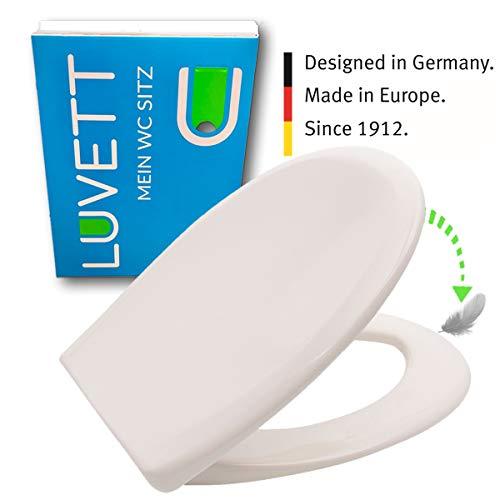 LUVETT WC-Sitz C770 oval mit Absenkautomatik SoftClose® & TakeOff® EasyClean Abnahme, Duroplast Toilettendeckel, Farbe:Pergamon