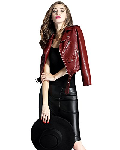 Product Image of the LY VAREY LIN Fitaylor Women's Faux Leather Motorcycle Jacket PU Slim Short Biker...