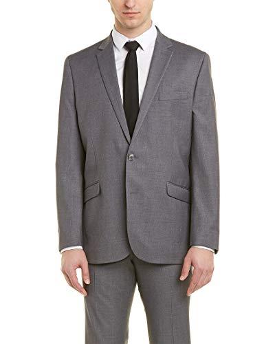 Kenneth Cole REACTION Men's Stretch Slim Fit Suit, Gray Solid, 36 Regular