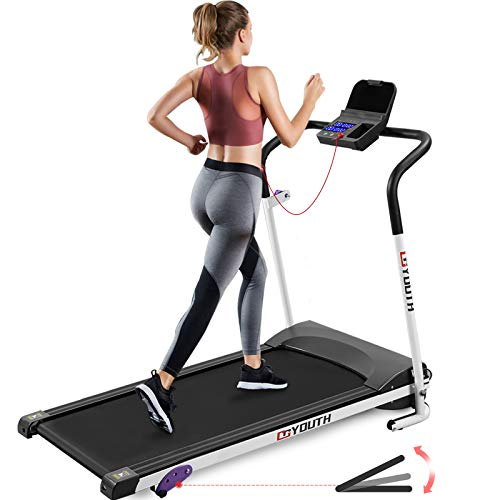 Goyouth Folding Treadmill for Home Electric Motorized Workout Foldable Running Machine Portable Compact Treadmills Jogging Machine for Running and Walking Exercise Fitness, Free Installation
