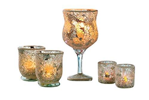 Splitter Mosaik Gläser 5tlg. mit LED Kerzen Silber Dekoration Gläser