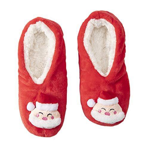 Wedestock Chaussons de Noël Rouges antidérapants, lavables en Machine Taille 31/35