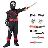 Ninja Halloween Costume for Boys with Included Accessories for Child Dress up Best Gifts (Red, Medium (4–6Y))