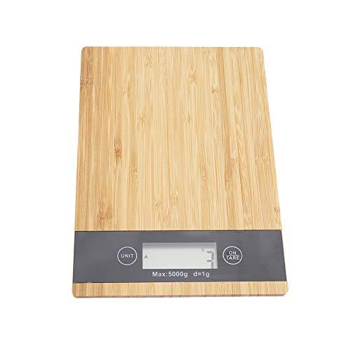 Báscula Digital para Cocina de Panel de bambú, Balanza electrónica Medición de alimentos Forma rectangular Balanza de cuerpo Escala digital con pantalla LED para Cocina