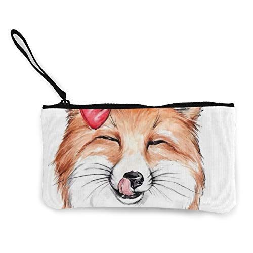 Süßes Süßes Dessert Fuchs Frauen Canvas Münzbörse Kosmetik Make-up Tasche Tasche Etui Etui für Frauen 11,4 x 21,6 cm