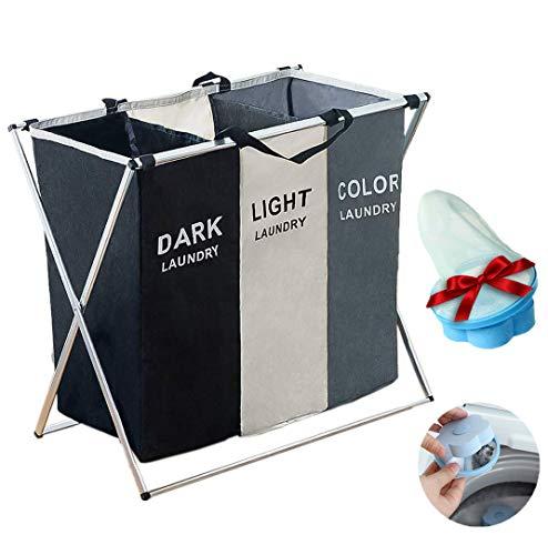Qingxian Wäschekorb 3 Fächer, Oxford (Gewebe) Premium Upgrade, Wäschesammler Aufbewahrungskorb