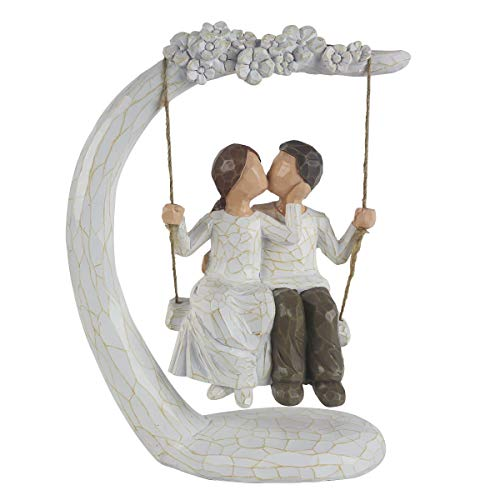 """HMGYGS Couple Figurine, Hand-Painted Romantic Together Couple Sculpture Gift for Valentine's Day, Wedding Anniversary, Weddings - 9""""H"""