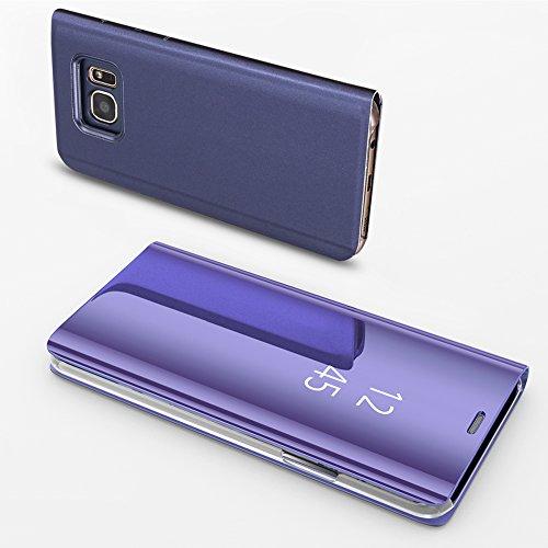 Coque Samsung Galaxy S7 Edge Miroir Slynmax Housse S7 Edge Clear View Etui à Rabat Cover Flip Case Etui Housse Translucide Support Miroir Téléphone Violet en PC et Cuir Samsung Galaxy S7 Edge