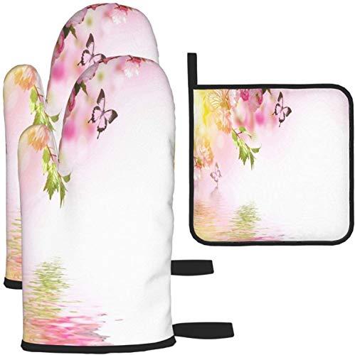 Blumen Amazing Spring Sakura mit Schmetterlingen Rosa Ofenhandschuhe und Topflappen 2498 Stück Set Küchenofen Handschuh und Topflappen Rutschfest zum Kochen Backen Grillen - als Farbe in Einheitsgröße