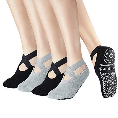 Bignewod Calzini antiscivolo antiscivolo Yoga Pilates Barre, 4 paia di calzini antiscivolo con cinturino appiccicoso per donna Ladies EU 35-40