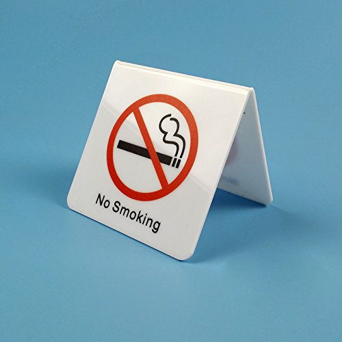 Airgoesin 5pcs No Smoking Table Top Tent Sign White Acrylic Double-Sided Display 3.95x3.95 inches
