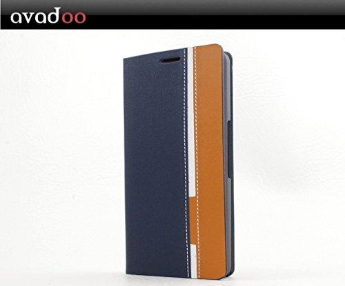 avadoo® Wiko Highway Flip Hülle Cover Blau-Braun mit Kartenschacht als Cover Tasche Hülle