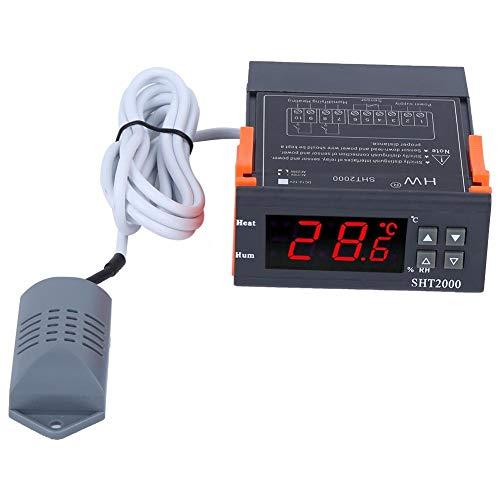 Controlador de temperatura y humedad, termostato digital SHT2000, pantalla digital LCD inteligente grande y clara de 110-220V, mini ligero, con sensor integrado