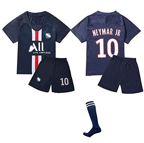 CHSC # 10 Neymar Trikot Trikotset uniform Jersey,Heimatgericht Outfit Kinder Kurzarm Shorts Socken Trainingsbekleidung Wettbewerb Fan-Ausgabenweste 1 Set Darkblue(1)-26
