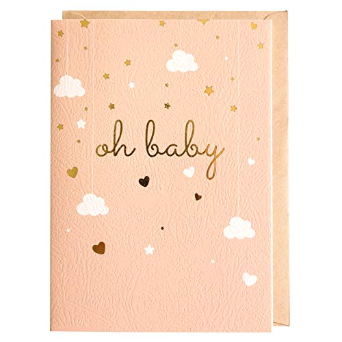 Baby Shower Card - Single Greeting Cards 5' x 7' with Kraft Envelope - Gold Foil Printing'Oh Baby!' for Congratulations Baby Shower for Newborn Baby Girl or Boy - Blank Inside