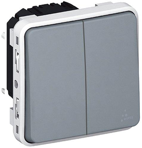 Legrand LEG69925 Plexo - Interruptor doble basculante (para empotrar), color gris