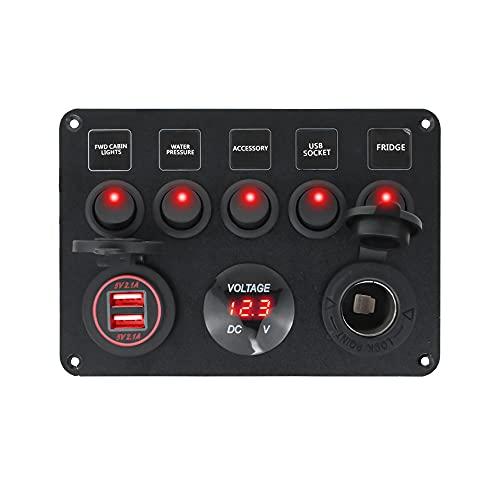 ZHENGYI Panel de interruptores de Barco Panel de Interruptor de automóvil Impermeable Digital Dual USB Voltímetro Puerto 12V Outlet Combinación Marina LED Rocker 5 Gang (Color : Green)
