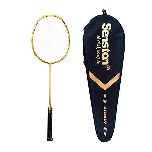 Senston N80 Graphite Single High-Grade Badminton Racquet, Professional Carbon Fiber Badminton Racket, Carrying Bag Included Gold Color