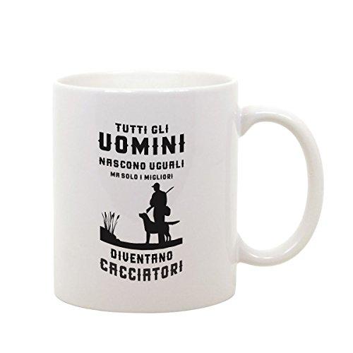 bubbleshirt Tazza Mug in Ceramica Compleanno - Tutti Gli Uomini Nascono Uguali ma Solo i Migliori Diventano Cacciatori - Idea Regalo