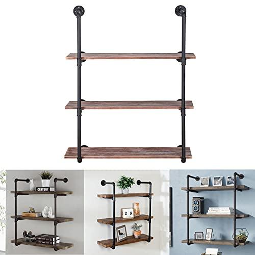 2 soportes de estante de tubería industrial de 4 niveles retro montado en la pared de hierro estante de almacenamiento DIY estante de...
