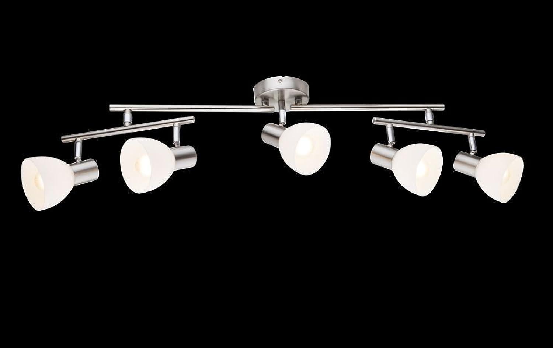 Deckenstrahler 5 flammig Decken Spot Deckenlampe Spots Strahler Flur Lampe Glas opal (Deckenleuchte, Deckenlicht, Schlafzimmer, Wohnzimmer Leuchte, Küche, 78 cm, Fassung 5 x E14)