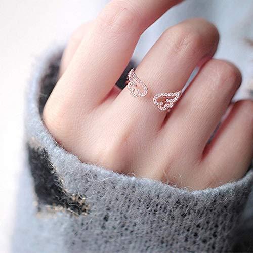 HYLJZ Ring Verstelbare Angel Wings Ring Micro pleisters zirkoon goudkleurige ringen voor vrouwen mode ringen
