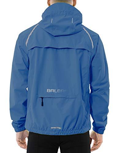 BALEAF Herren Fahrradjacke Wasserdicht Atmungsaktiv Reflektierend Fahrradmantel für Winter Blau XL