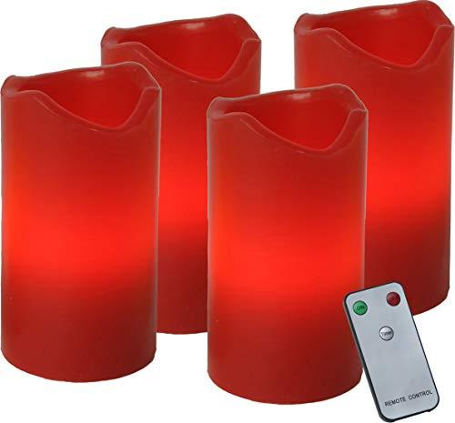 Best Season 067-12 LED-Wachskerzenset, 10 x 5, rot, 4er pack