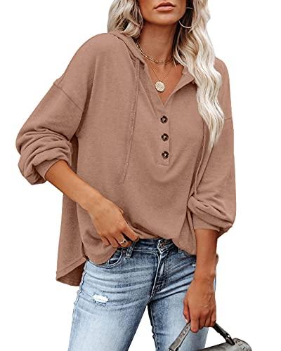 Women V Neck Long Sleeve Sweatshirt Blouses Button Down Drawstring Fall Hooded Henley Top Khaki 2XL