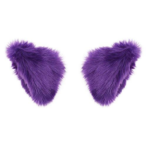 BAOBAO Cat Fox Long Fur Ears Hair Clip Headwear Cosplay Halloween Costume (Dark Purple)